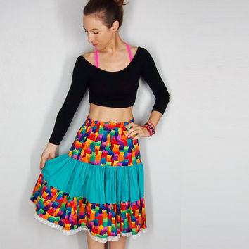 Rainbow Cat Print Midi Skirt, Summer Skirt, Blue and Flourescent Rainbow Small Medium XS