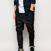 ASOS Drop Crotch Jeans In Coated Indigo