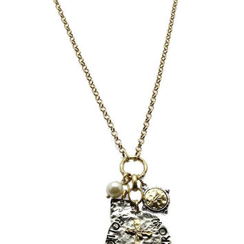 NECKLACE / HAMMERED METAL CROSS / MESSAGE DISC / FOLLOW YOUR ARROW / PEARL CHARM / TWO TONE / CUTOUT / TEXTURED / LINK / CHAIN / 30 INCH LONG / 3 1/2 INCH DROP / NICKEL AND LEAD COMPLIANT