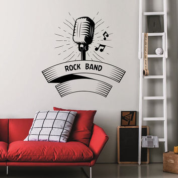 Wall Decal Music Microphone Notes Sounds Musical Instrument Rock Band Design Wall Decals Rehearsal Room Bedroom Garage Home Decor Art 3839