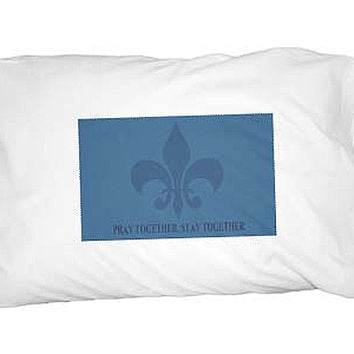 Pray Together Stay Together Fleur de Lis - Blue Inspirational Religious