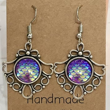 Purple Mermaid Scales Antique Silver Hook/Dangly Earrings