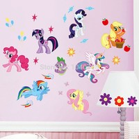 My Little Pony Wall Stickers for Kids Rooms Baby Home Decoration Anime Posters Cartoon Wall Decal Art Wall Paper Kids Nursery