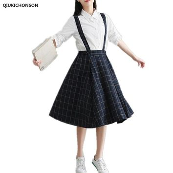 Qiukichonson cotton plaid skirts women spring cute high waist all-match pleated skirts female long suspender skirt