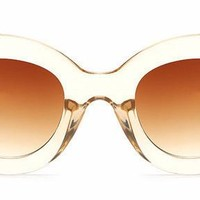 Women's Awesome Vintage Large Clear Gold Round Style Cat Eye Sunglasses with Brown Lenses