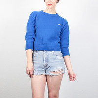 Vintage 80s Sweater Blue Cotton LACOSTE Sweater Shrunken Pullover Preppy Sweater 1980s Sweater Alligator Patch Logo Knit XS Extra Small S