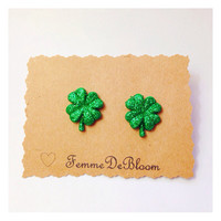 Handmade Glitter Four Leaf Clover Sparkle Earrings St Patty's Day