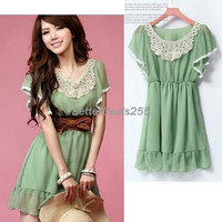 Women's Elegant Laciness Short Sleeve Sweet Chiffon Mini Dress Korean Fashion