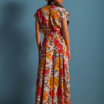 Floral Jumpsuit, open back and oversized pants, viscose cotton