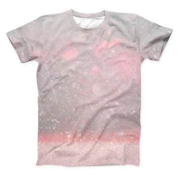 The Muted Pink and Grunge Shimmering Orbs ink-Fuzed Unisex All Over Full-Printed Fitted Tee Shirt