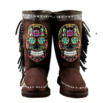 Mardi Gras Rhinestone Sugar Skull Collection Shearling Dark Brown Tall Boots