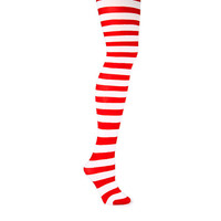 Holiday Red and White Striped Tights