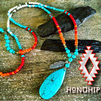 Native American beaded turquoise silver feather hippie necklace, boho chic healing pendant