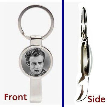 James Dean Pendant or Keychain silver tone secret bottle opener