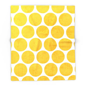 Society6 Yellow Polka Dots Blanket