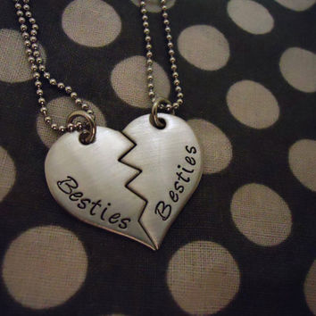 Personalized Broken Heart Necklace Duo - Best Friends - Hand Stamped Stainless Steel SHIPPED in 10-14 Days, SHIPPING TIME 3-5 Days