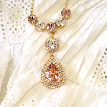 Blush Necklace, Bridal Necklace, Bridal Blush Necklace, Blush Crystal Necklace, Bridal Statement Necklace,  Swarovski Crystal Necklace