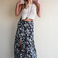 Tribe Leader Abstract Print Maxi Skirt