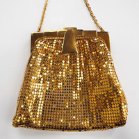 Vintage Deco Whiting and Davis Gold Mesh Purse, Wristlet Evening Bag