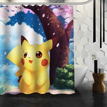 Custom  Pikachu Waterproof Fabric Bath Shower Curtain Mildewproof Polyester Bathroom  Kawaii Pokemon go  AT_89_9