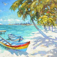 Fishing boats on the beach - contemporary wall art oil palette knife on canvas painting by Dmitry Spiros