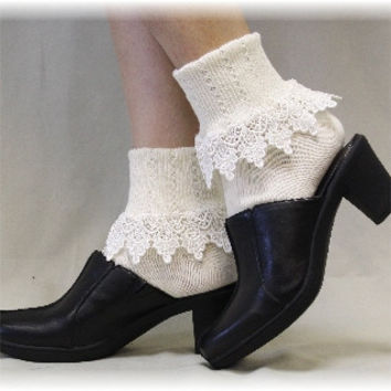 Lacy sock, LOVELY LACE, short,  boot socks, signature, women, ankle,  Ivory | SL59