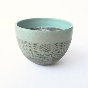 Hand Pierced Copper Green Stoneware Bowl Form - Highly Textured Pierced Pottery - Contemporary Home Decor