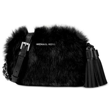 MICHAEL Michael Kors Jet Set Travel Small Chain Crossbody Fur Bag (Black)