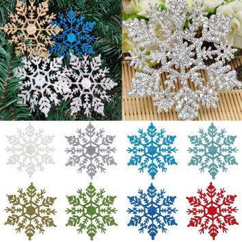 DCCKF4S 12 Pcs New Glitter Snowflake Christmas Ornaments Xmas Tree Hanging Decoration snowflakes colorful Ornament 2017 new