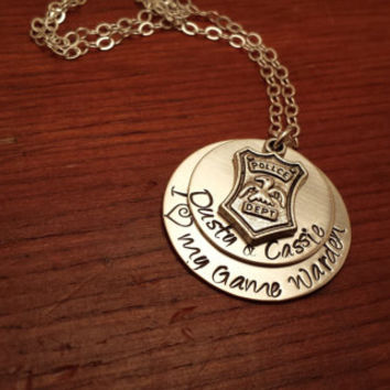 "Personalized Game Warden necklace ""I (love) my Game Warden"" Hand stamped"