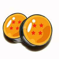 """Dragon Ball Z Plugs - 1 Pair (2 plugs) - Sizes 8g to 2"""" - Made to Order"""