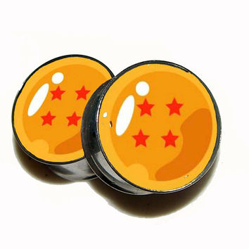 "Dragon Ball Z Plugs - 1 Pair (2 plugs) - Sizes 8g to 2"" - Made to Order"