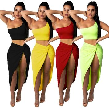 Sexy Women 2 Piece Bandage Bodycon Crop Top Midi Skirt Set Lace Up Dress Party