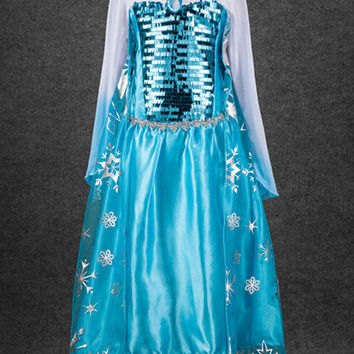 Frozen Girl Elsa Snow Queen Princess Girls Party Dress Costume