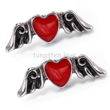 Vintage Style 316L Stainless Steel Black & Silver Angel Wing & Red Heart Stud Earrings for Women Gifts