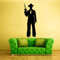 Wall Vinyl Sticker Decals Decor Art Bedroom Design Mural Gun machine gun Mafia Gangster  (z2529)