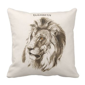 Vintage Lion With Orange Eyes Transparent Drawing Throw Pillow