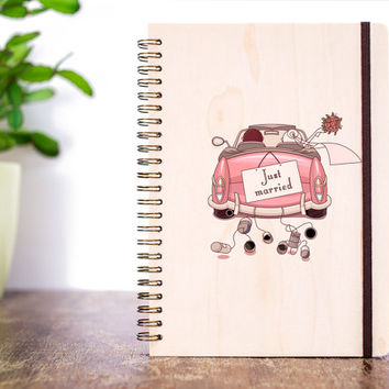 Gift for Bride, Wood Wedding Journal, Bridal Shower Gift, Wedding Notebook, Rustic Wedding, Wedding Guest Book, Wedding Favors Wedding Diary