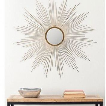 Gold Mirror SUNBURST Rope Braided DECOR Frame Elegant Wall Round