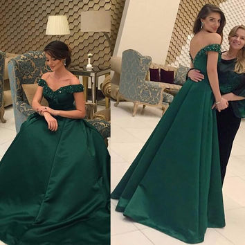 Floor Length Prom Dresses ,Green Satin Prom Dress,Evening Dress