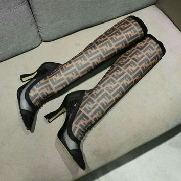 Fendi Logo Jacquard Stretch Knit leather knight Boots brown High Heels Shoes