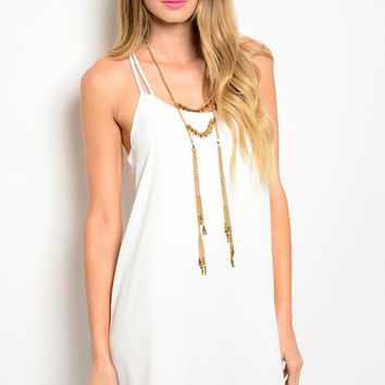 Ivory Spaghetti Strap Sleeveless Dress