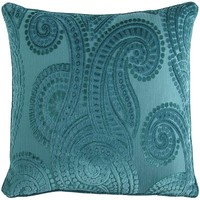 Harlem Blues Paisley Pillow - Teal