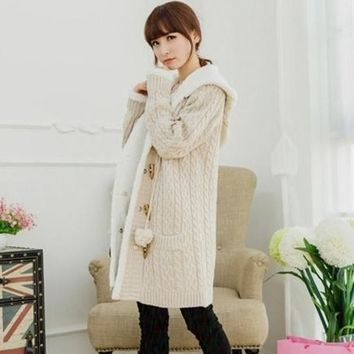 Christmas Long Section Of Cashmere Knitted Thickened Korean Large Cap Code Twist Sweater Cardigan Casual Women Cotton Coat
