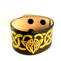 Leather Cuff Bracelet, Celtic, SCA, LARP, Valentine's Day, Christian Ministry