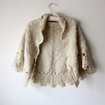 Vintage Earthy Tan Beige Knitted Shawl -- Romantic Mori Kei, Dolly Kei, Classic Lolita Style!