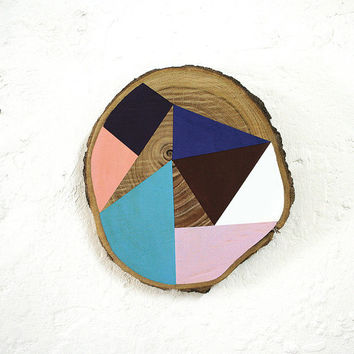 Geometric triangles on wood painting home wall decor