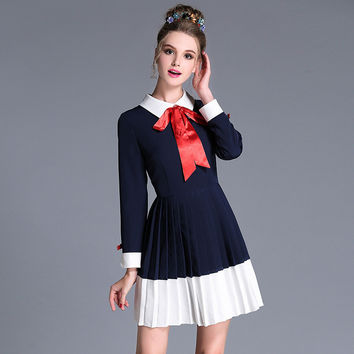 Long Sleeve Pleated Navy Preppy Dress With White Collar And Bow Detailing Plus Size Women Clothing l-5xl