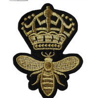 Queen Bee Iron/Sew On Embroidered Patch Badge Embroidery Crown Motif Royal | eBay