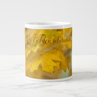 Yellow autumn maple leaves. Add you text or name. Giant Coffee Mug